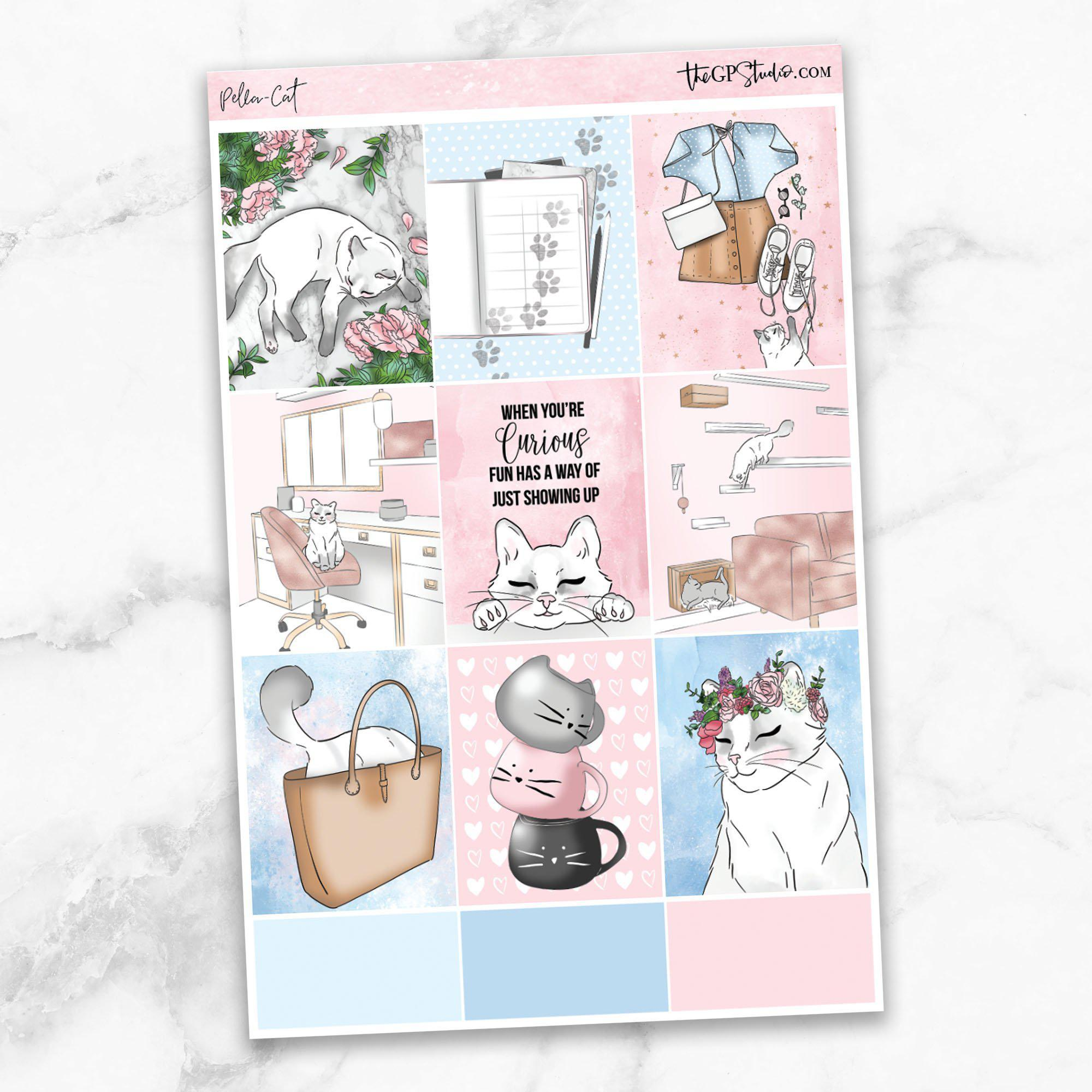 PELLA CAT KIT Full Boxes Planner Stickers-The GP Studio