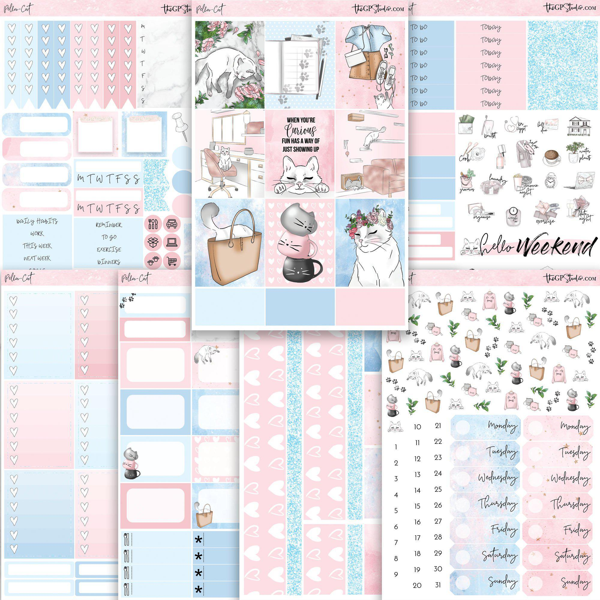 PELLA CAT KIT Planner Sticker Kit-The GP Studio