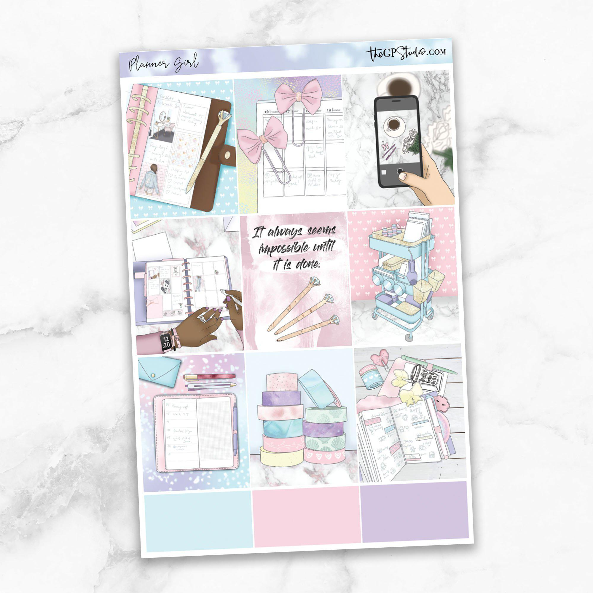 PLANNER GIRL Full Boxes Planner Stickers-The GP Studio