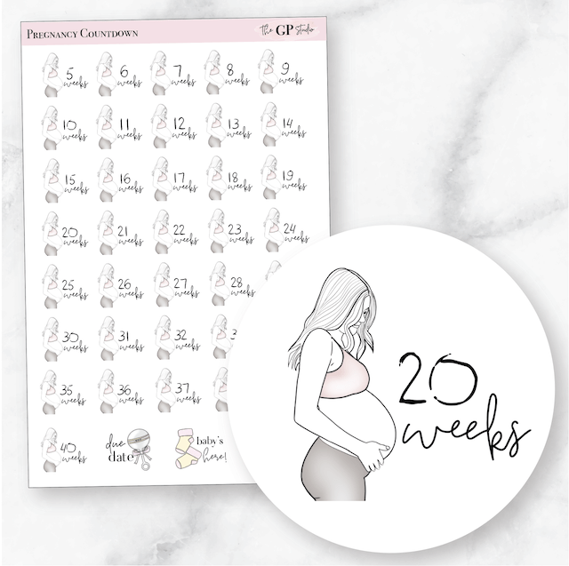 PREGNANCY COUNTDOWN Icon Planner Stickers-The GP Studio