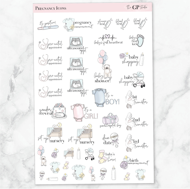 PREGNANCY PLANNING Icon Planner Stickers-The GP Studio