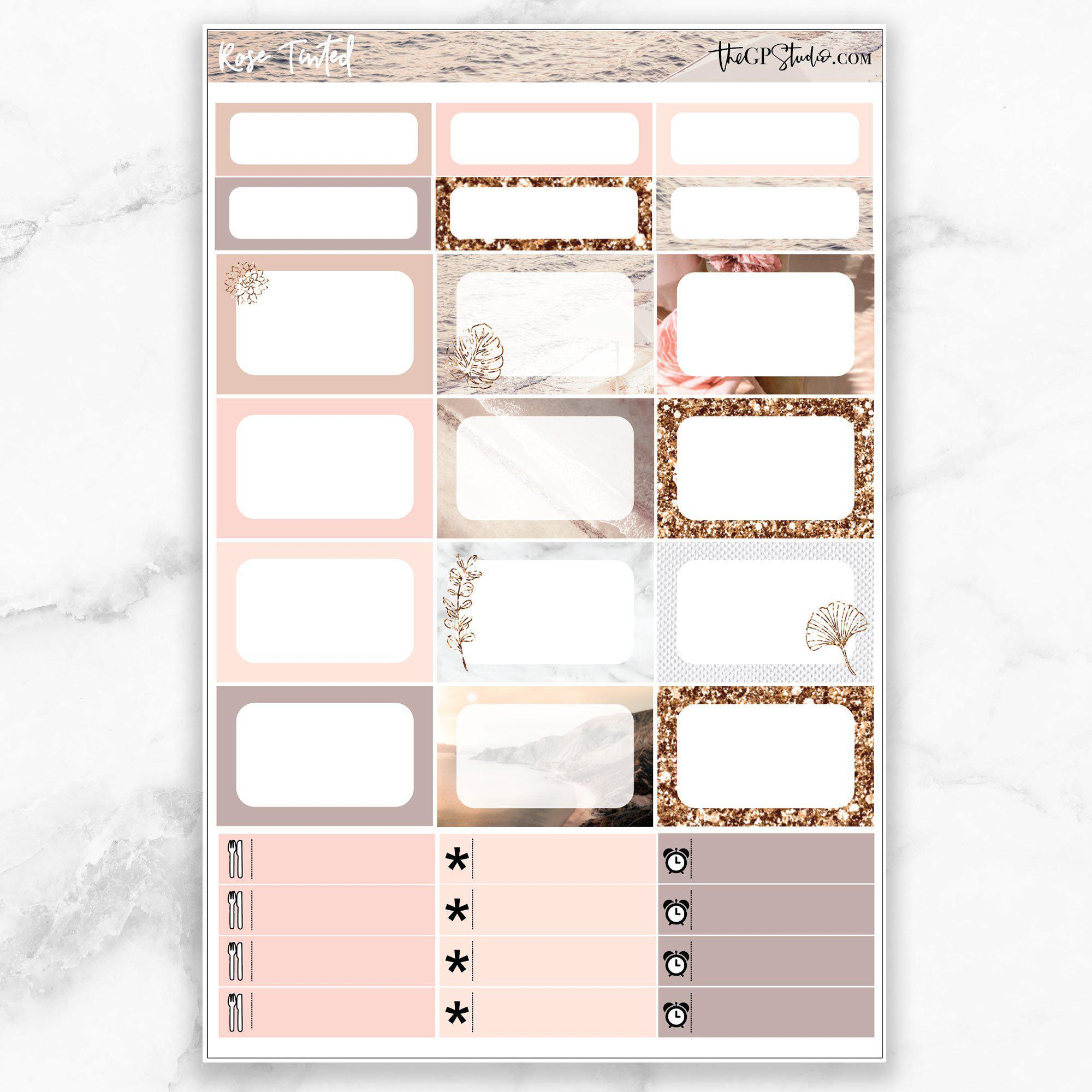 ROSE TINTED Half Boxes Planner Stickers-The GP Studio