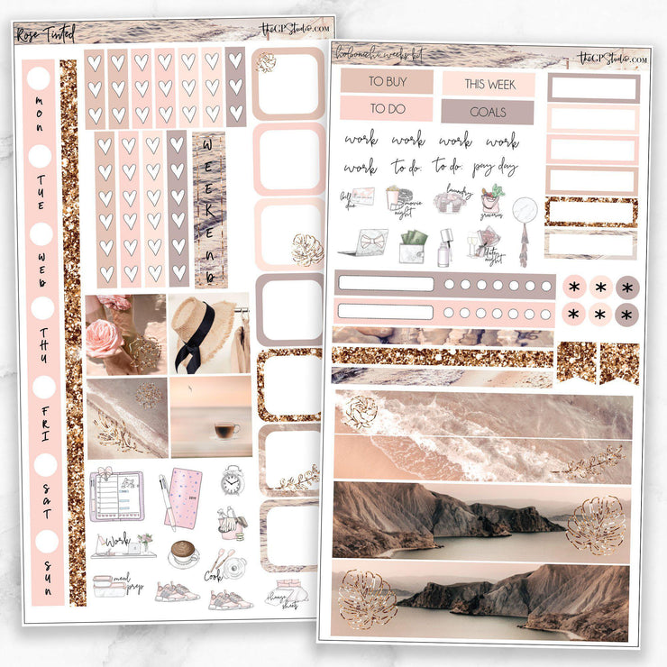 ROSE TINTED Hobonichi Weekly Size Planner Sticker Kit-The GP Studio