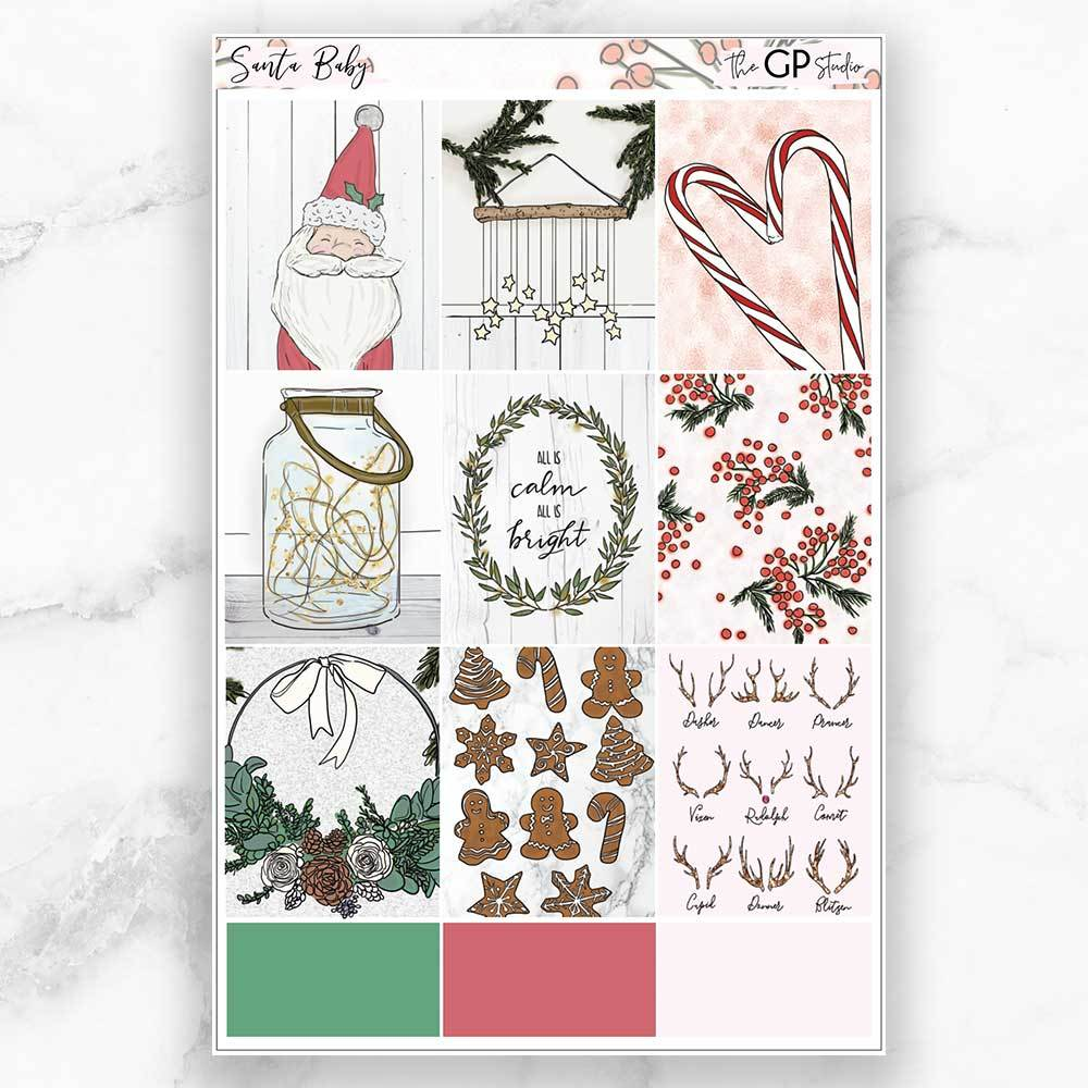 SANTA BABY Full Boxes Planner Stickers-The GP Studio