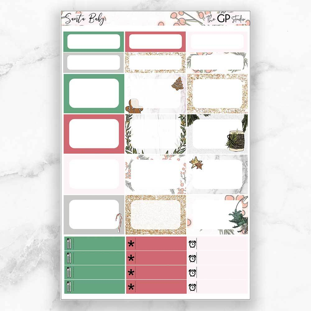 SANTA BABY Half Boxes Planner Stickers-The GP Studio