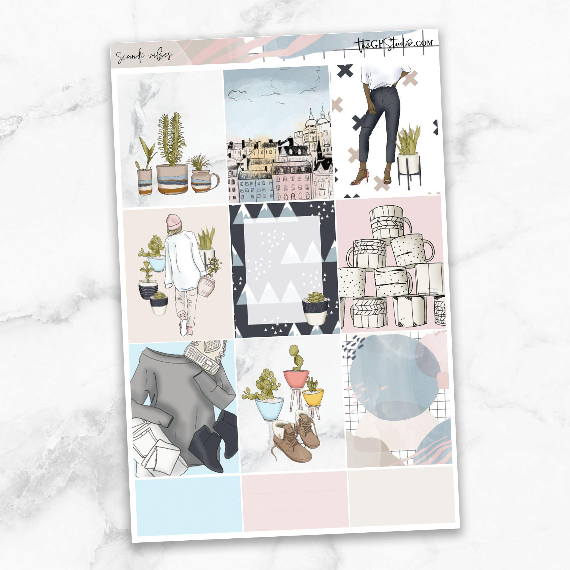 SCANDI VIBES Full Boxes Planner Stickers-The GP Studio