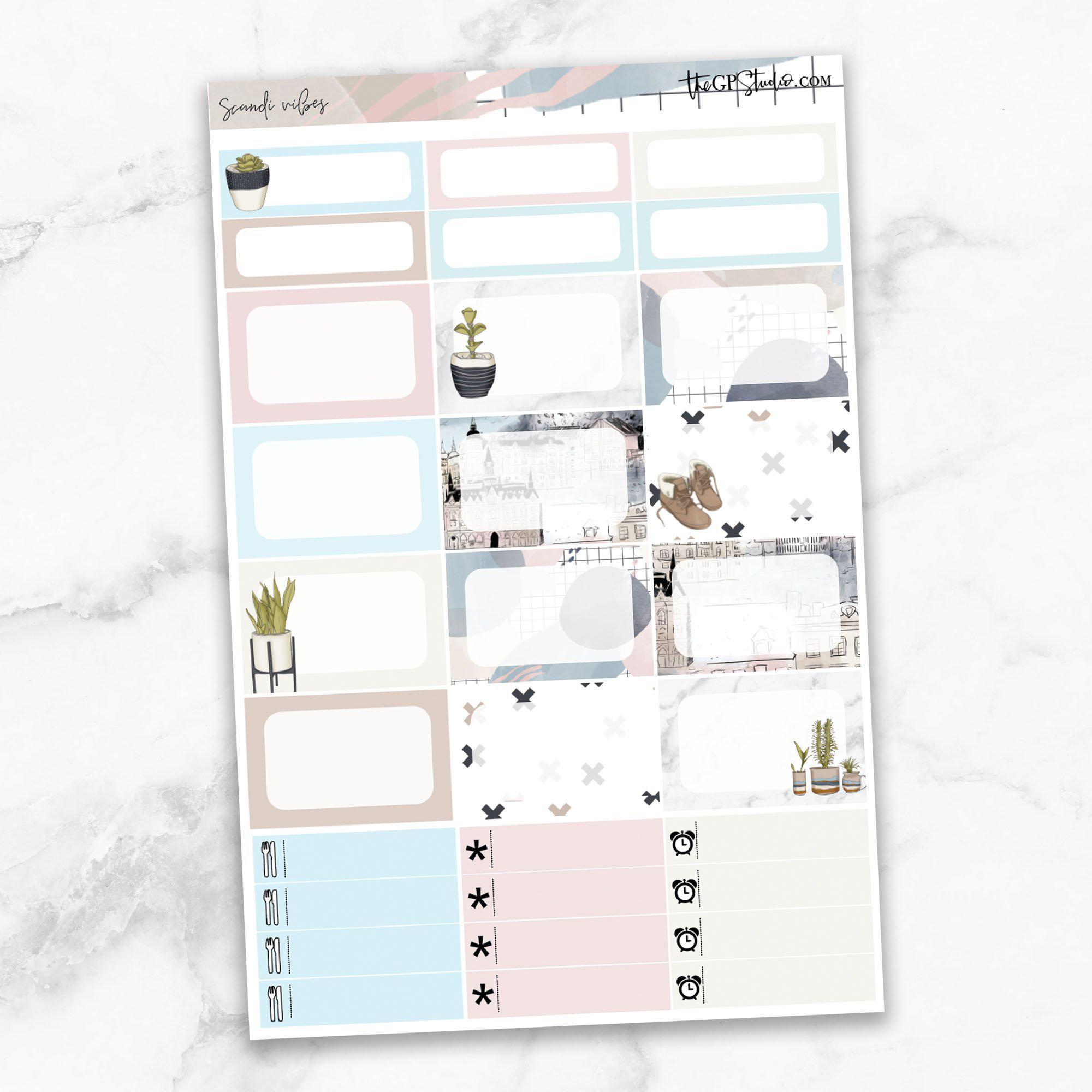 SCANDI VIBES Half Boxes Planner Stickers-The GP Studio