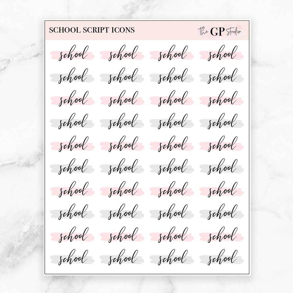 SCHOOL Script Word Icon Planner Stickers-The GP Studio