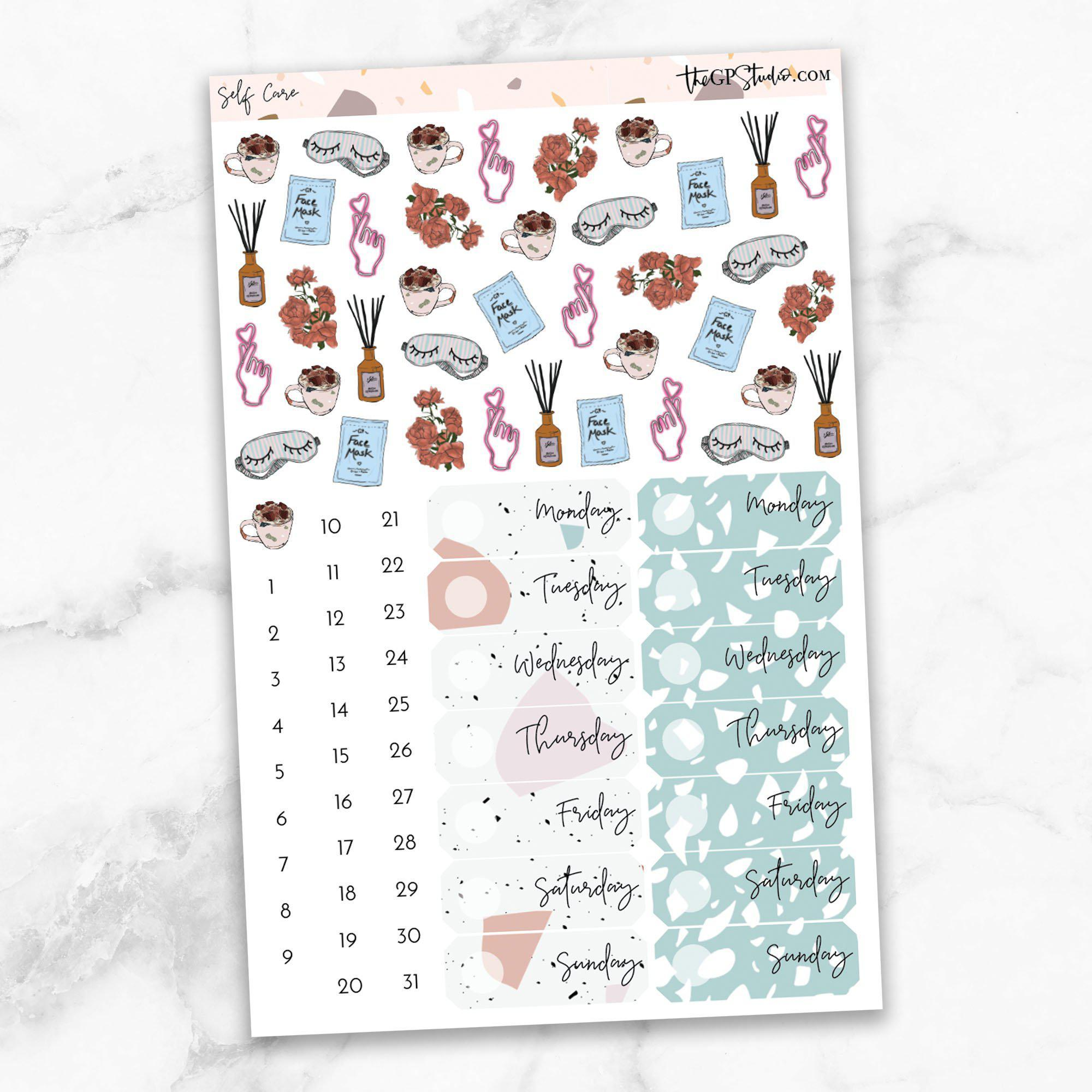 SELF CARE Deco & Date Cover Stickers-The GP Studio