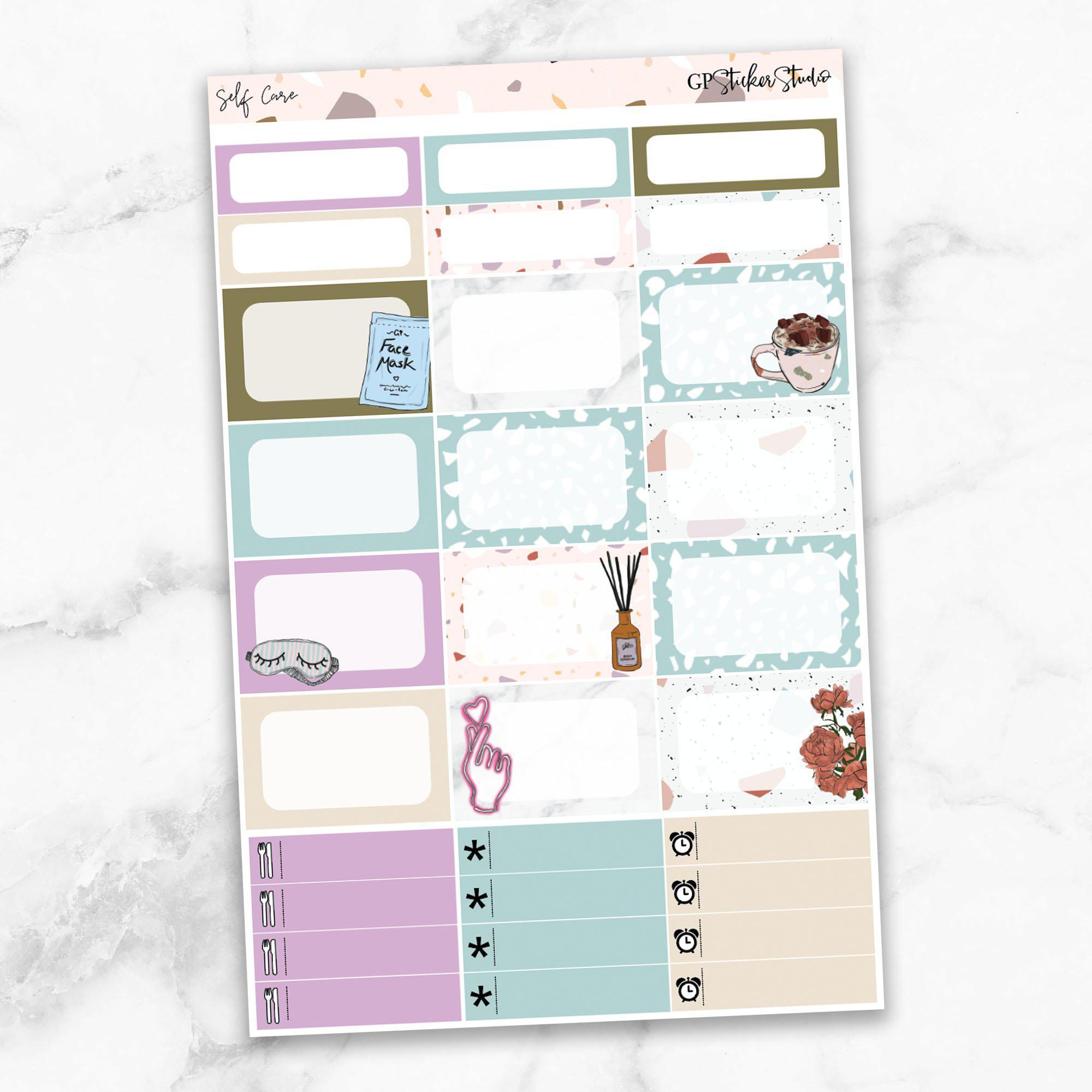 SELF CARE Half Boxes Planner Stickers-The GP Studio