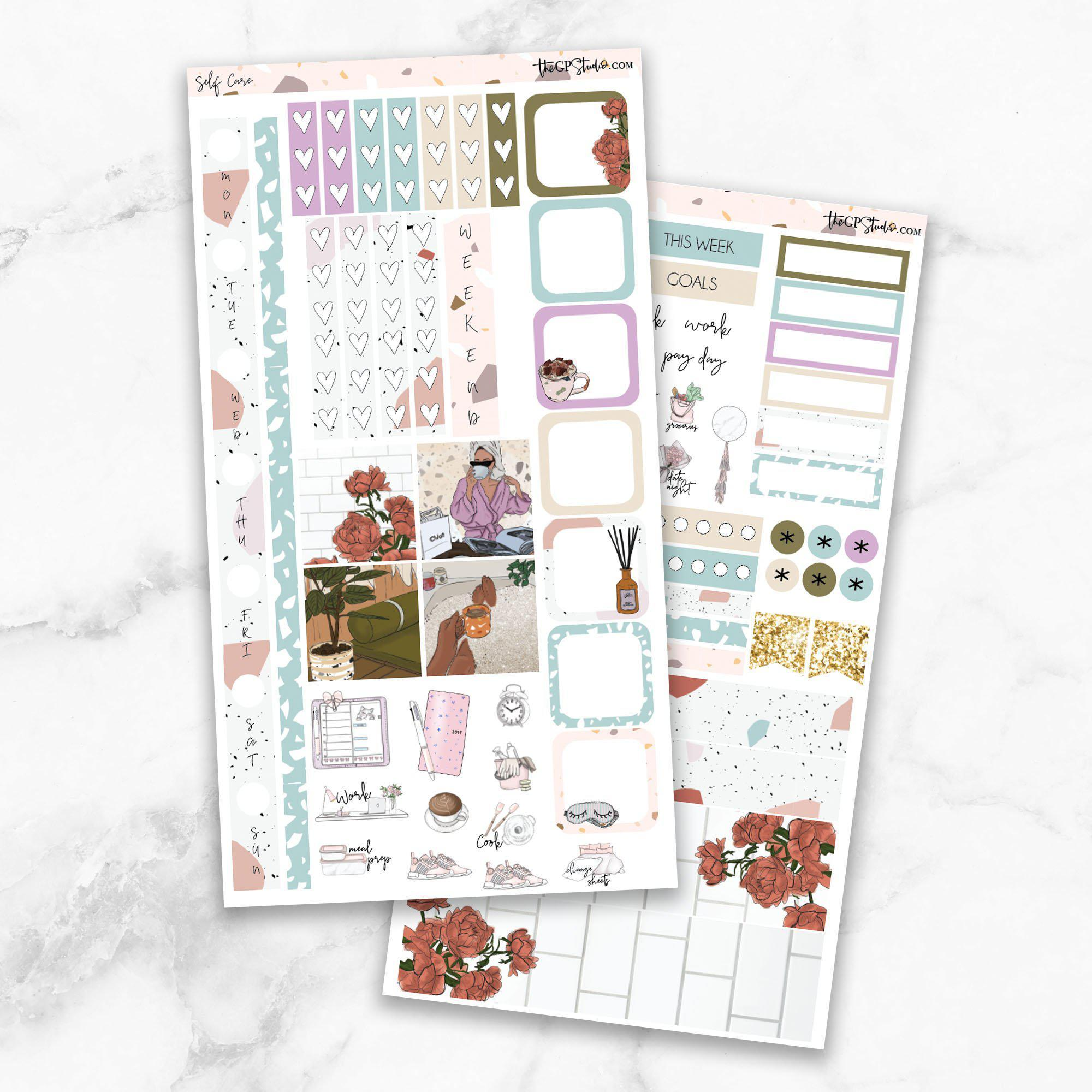 SELF CARE Hobonichi Weekly Size Planner Sticker Kit-The GP Studio