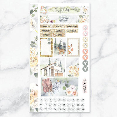 SEPTEMBER MONTHLY VIEW Personal/TN Size Stickers-The GP Studio