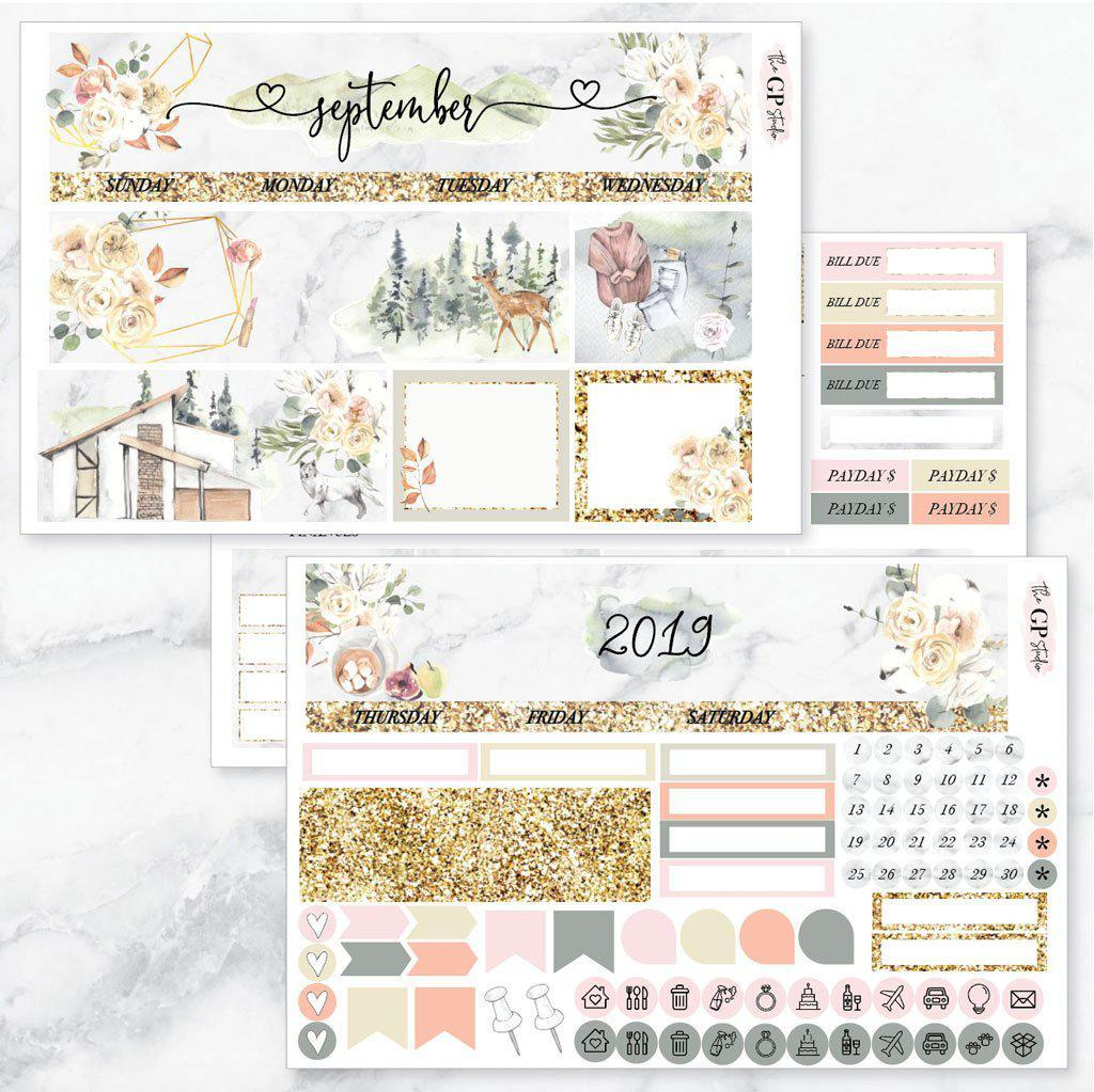 SEPTEMBER Monthly View Sticker Kit Erin Condren Size-The GP Studio