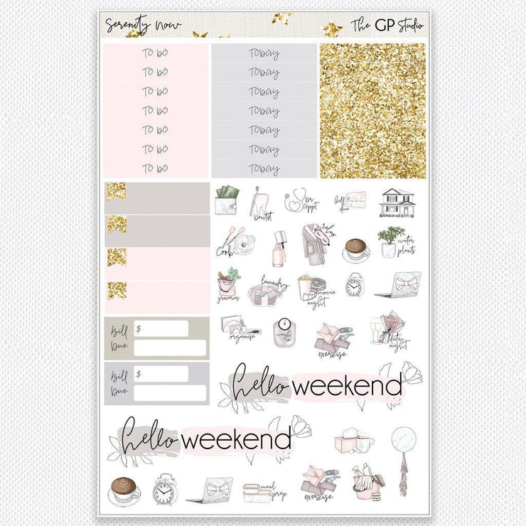 SERENITY NOW Functional Planner Sticker Kit-The GP Studio