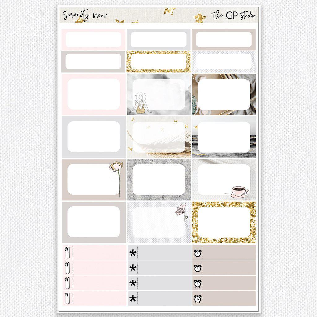 SERENITY NOW Half Boxes Planner Stickers-The GP Studio