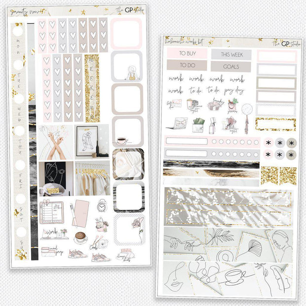 SERENITY NOW Hobonichi Weekly Size Planner Sticker Kit-The GP Studio