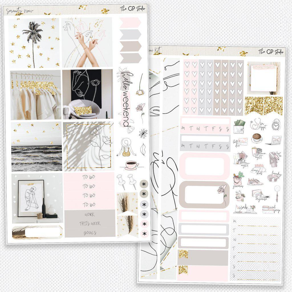 SERENITY NOW Mini Size Planner Sticker Kit-The GP Studio