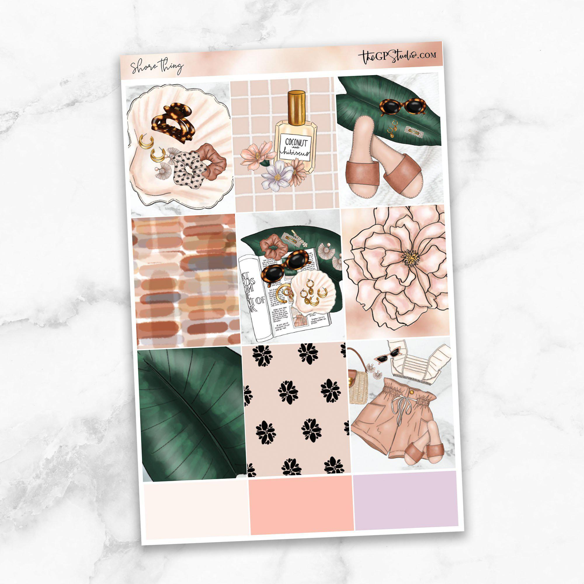 SHORE THING Full Boxes Planner Stickers-The GP Studio