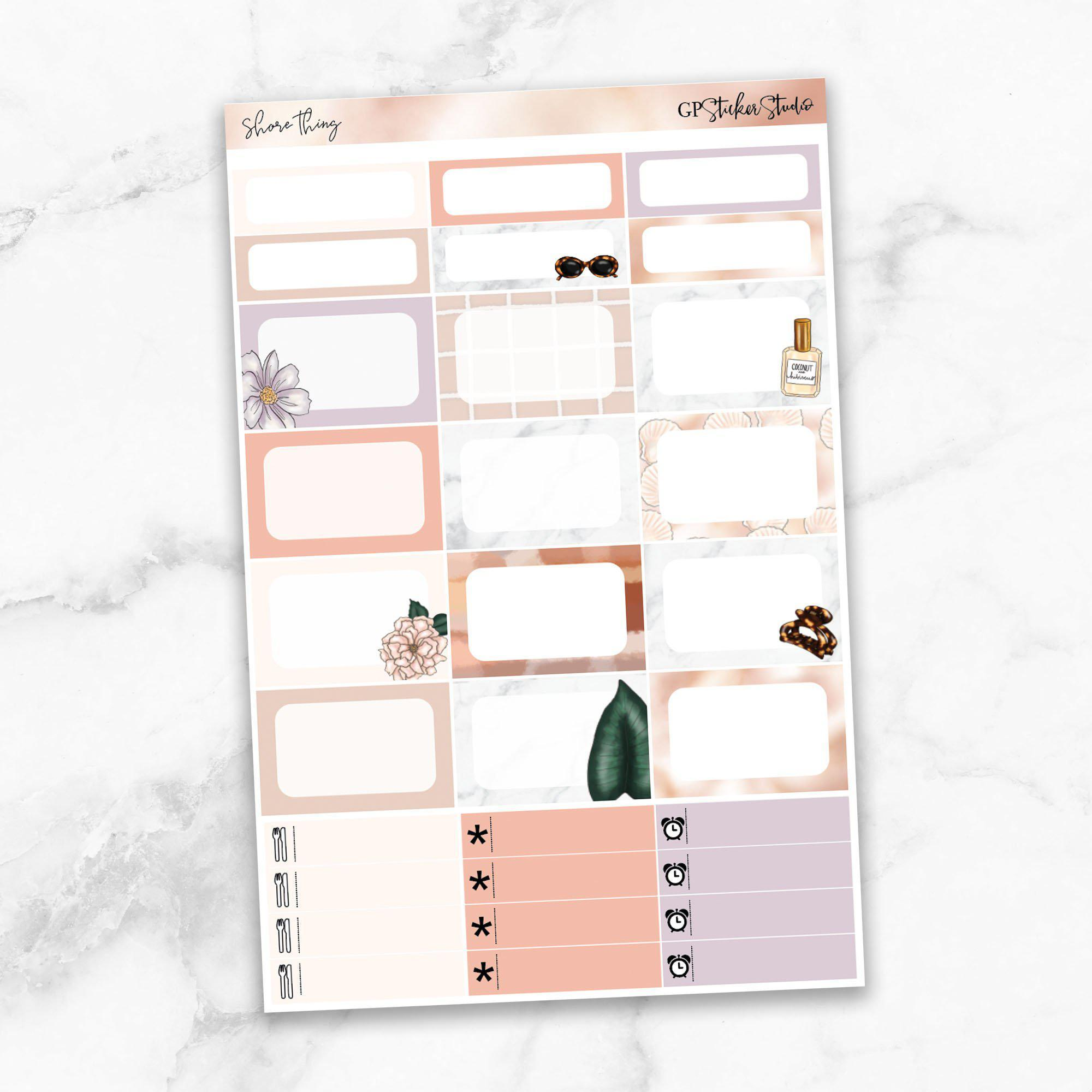 SHORE THING Half Boxes Planner Stickers-The GP Studio