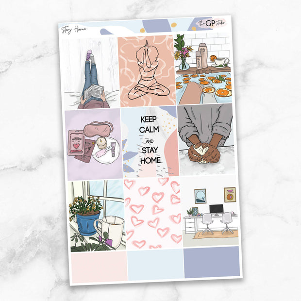 STAY HOME Full Boxes Planner Stickers-The GP Studio