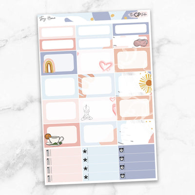 STAY HOME Half Boxes Planner Stickers-The GP Studio