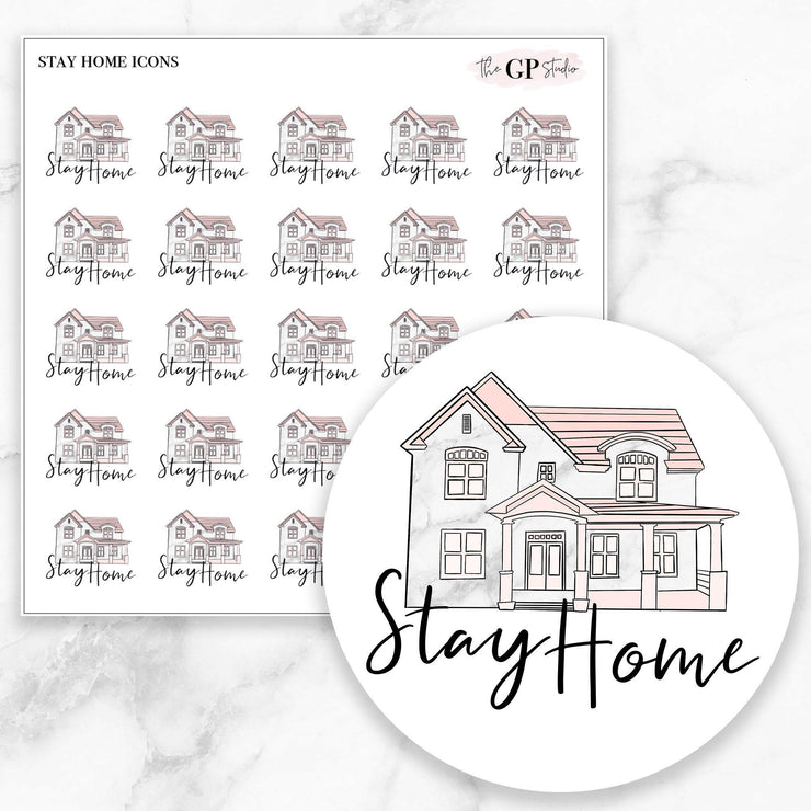 STAY HOME Icons Stickers-The GP Studio