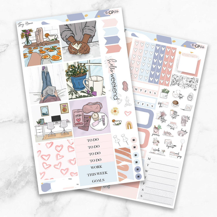 STAY HOME Mini Size Planner Sticker Kit-The GP Studio