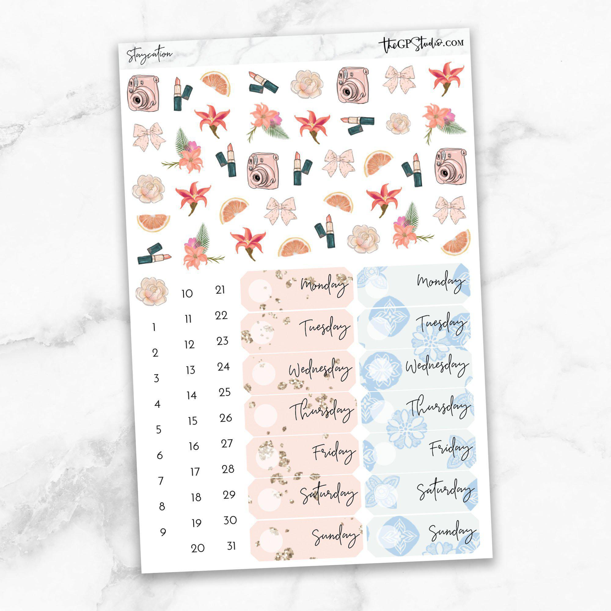 STAYCATION Deco & Date Cover Stickers-The GP Studio