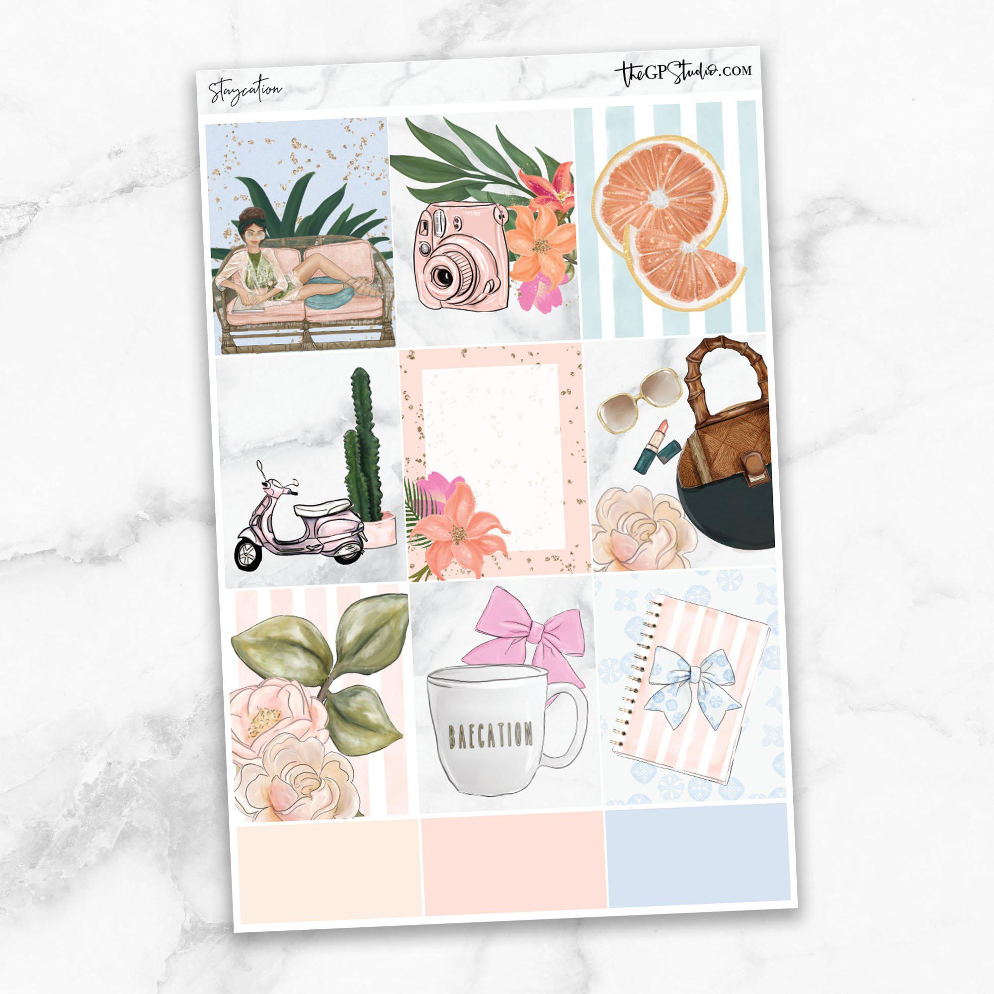 STAYCATION Full Boxes Planner Stickers-The GP Studio