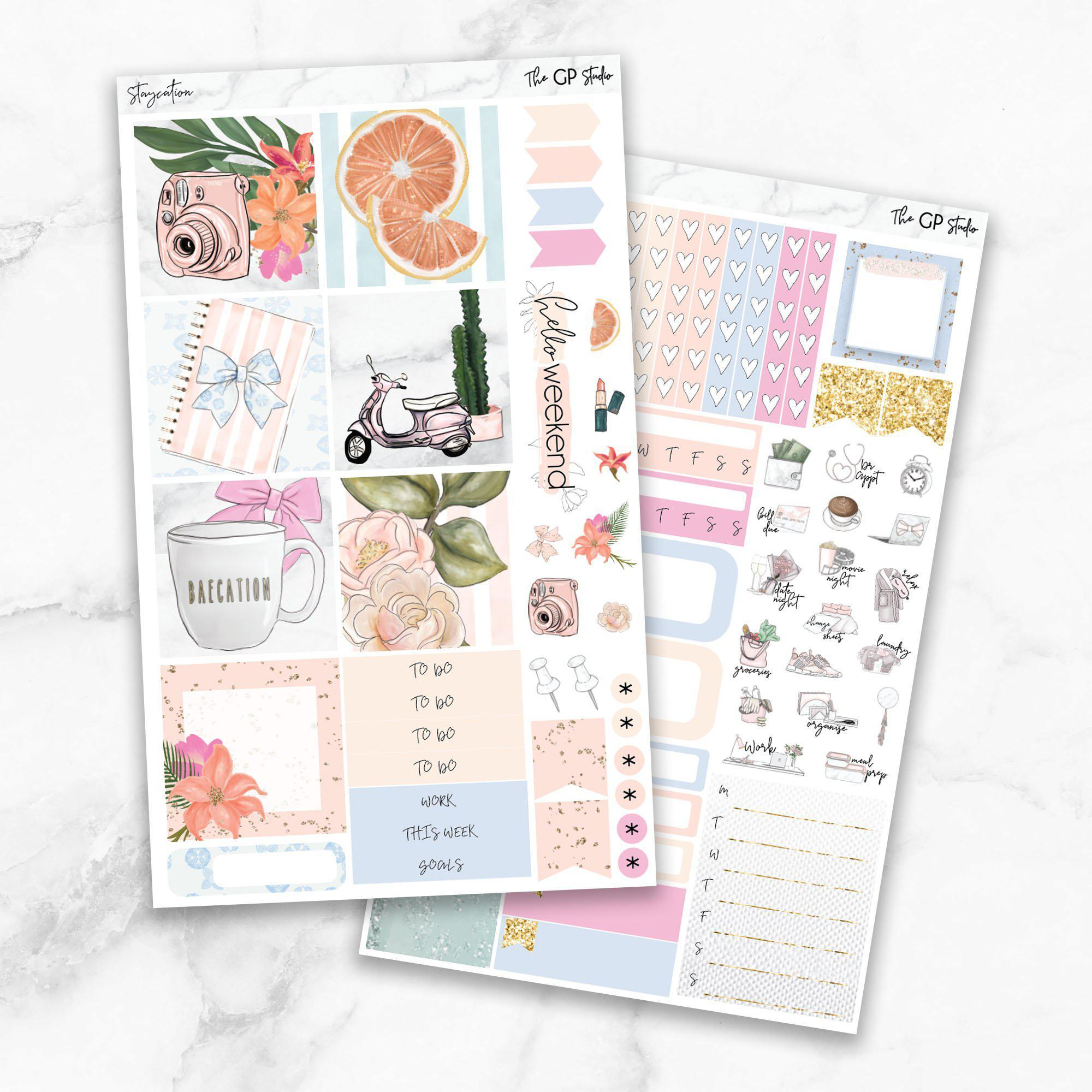 STAYCATION Mini Size Planner Sticker Kit-The GP Studio