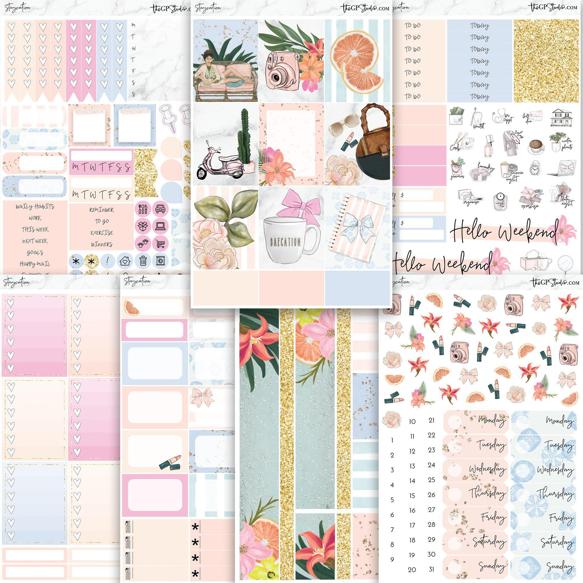 STAYCATION Planner Sticker Kit-The GP Studio