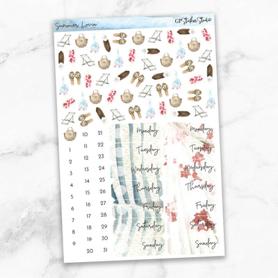 SUMMER LOVIN' Deco & Date Cover Stickers-The GP Studio