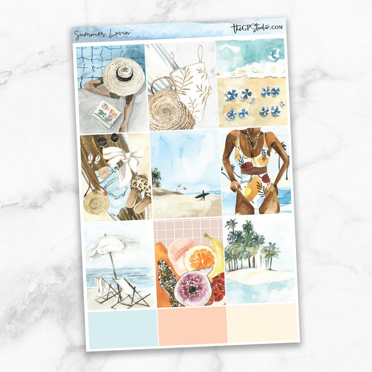SUMMER LOVIN' Full Boxes Planner Stickers-The GP Studio