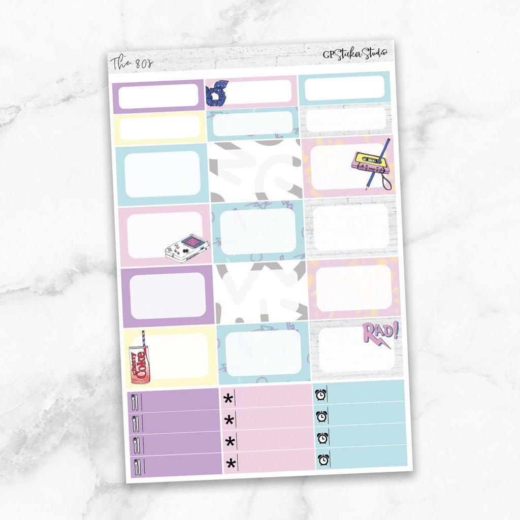 THE 80's Half Boxes Planner Stickers-The GP Studio