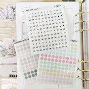 TRANSPARENT DATE DOTS - Clear Stickers-The GP Studio