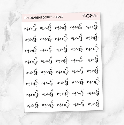 TRANSPARENT MEALS SCRIPT - Clear Stickers-The GP Studio