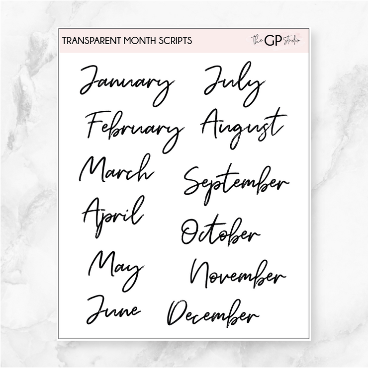 TRANSPARENT MONTHLY SCRIPT - Clear Stickers-The GP Studio