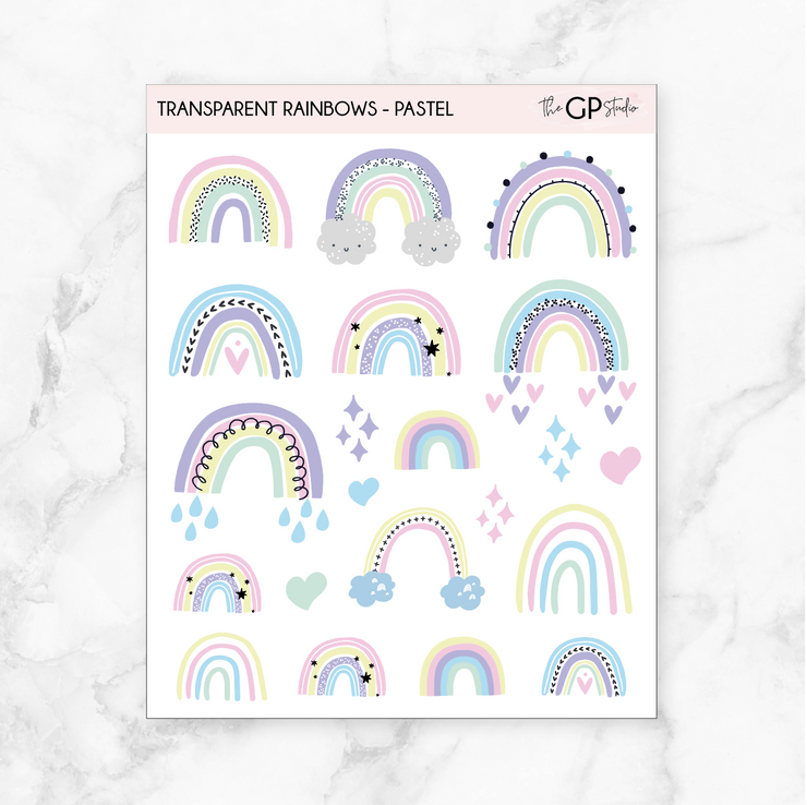 TRANSPARENT PASTEL RAINBOW STICKERS - Clear Stickers-The GP Studio