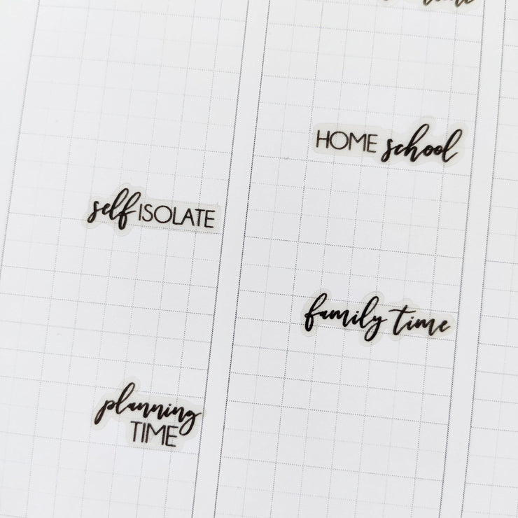 TRANSPARENT PLANNING TIME SCRIPT - Clear Stickers-The GP Studio