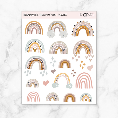 TRANSPARENT RUSTIC RAINBOW STICKERS - Clear Stickers-The GP Studio