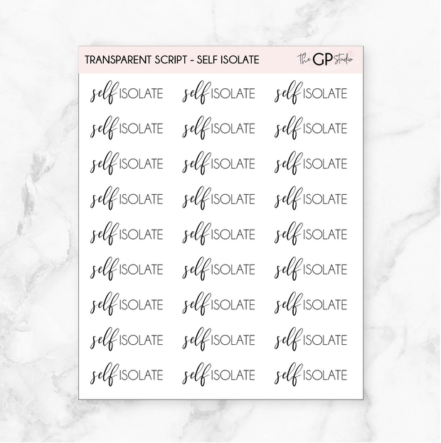 TRANSPARENT SELF ISOLATE SCRIPT - Clear Stickers-The GP Studio