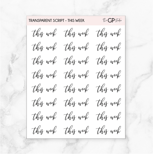 TRANSPARENT THIS WEEK SCRIPT - Clear Stickers-The GP Studio