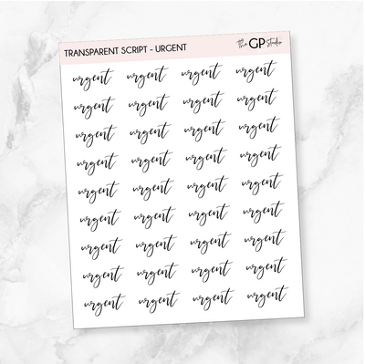 TRANSPARENT URGENT SCRIPT - Clear Stickers-The GP Studio