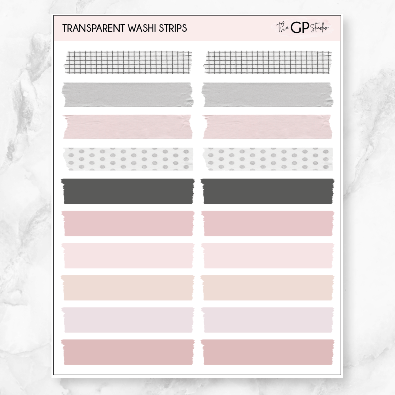 TRANSPARENT WASHI STRIPS - Clear Stickers-The GP Studio