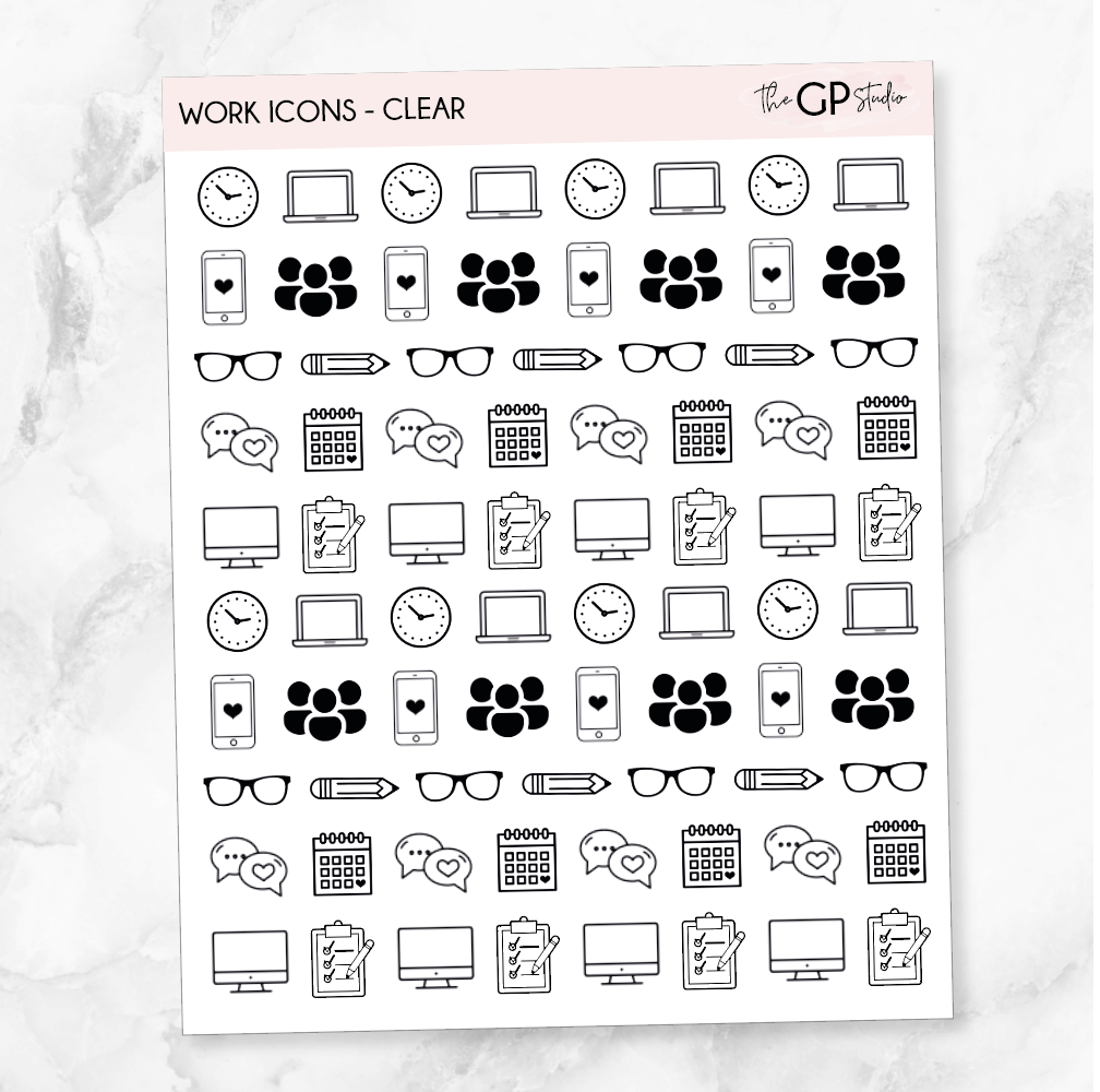 TRANSPARENT WORK ICONS - Clear Stickers-The GP Studio