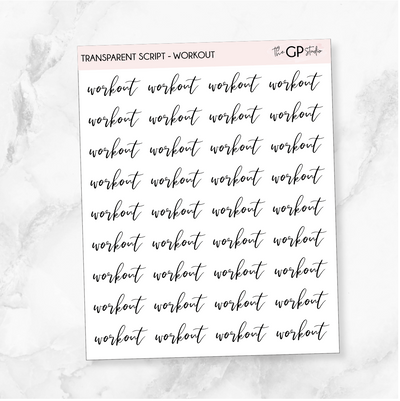 TRANSPARENT WORKOUT SCRIPT - Clear Stickers-The GP Studio