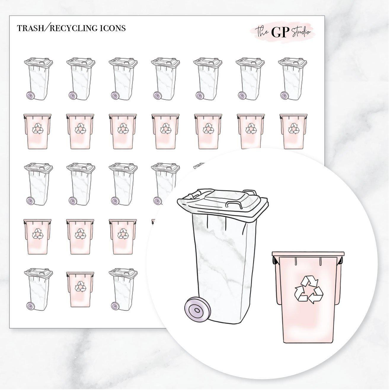 TRASH/RECYCLING Icons Stickers-The GP Studio