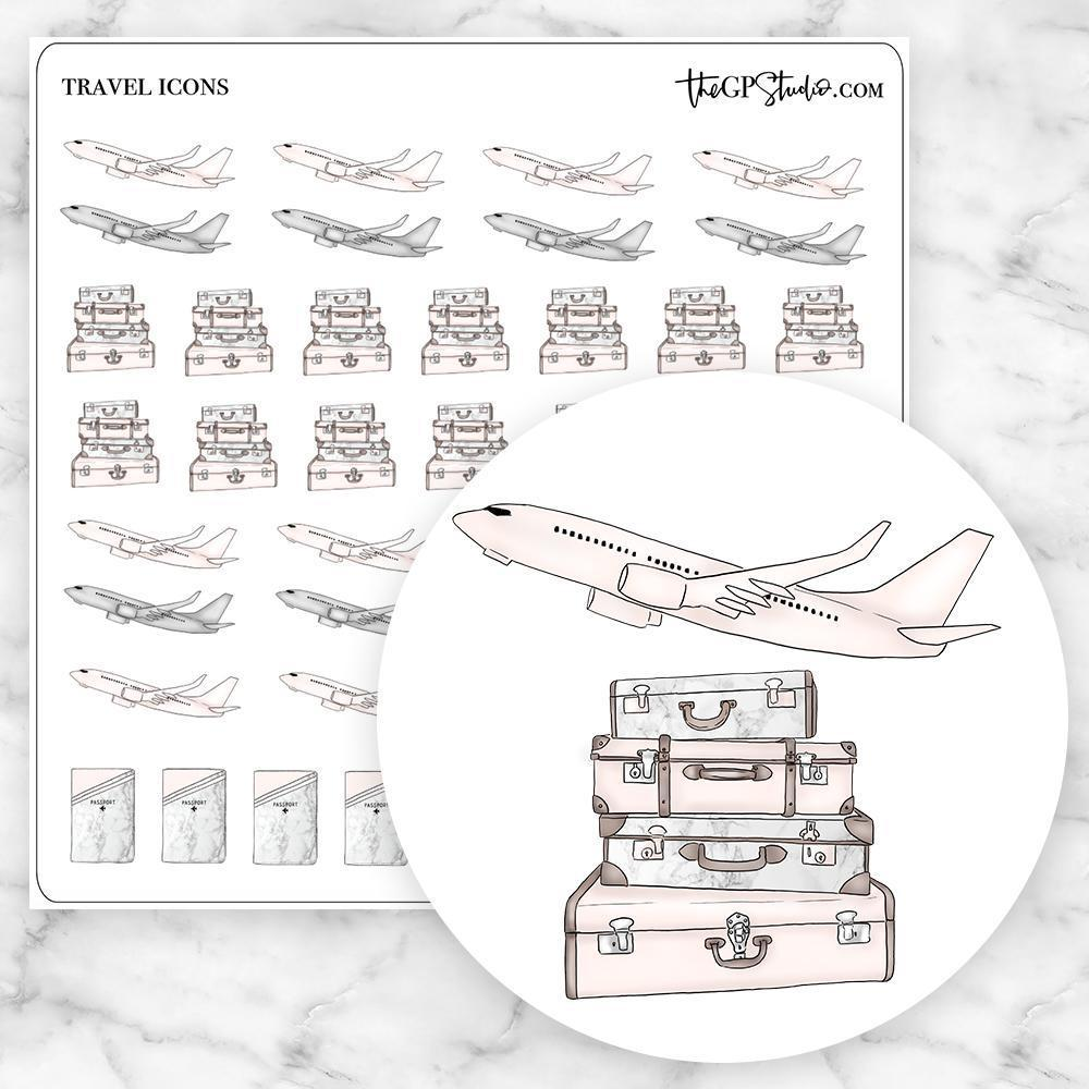 TRAVEL Icon Planner Stickers-The GP Studio