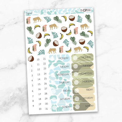 TROPICAL Deco & Date Cover Stickers-The GP Studio
