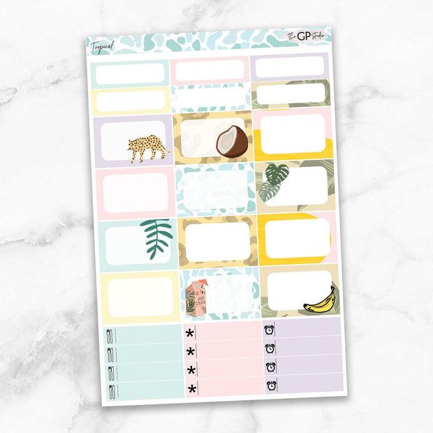 TROPICAL Half Boxes Planner Stickers-The GP Studio